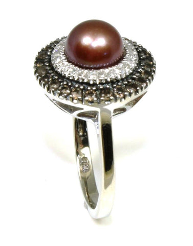 Brown Pearl, Diamond, and Smoky Quartz Halo Ring