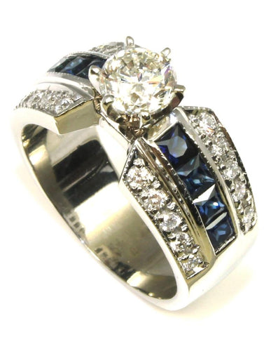 1.17ctw Diamond and Sapphire Ring