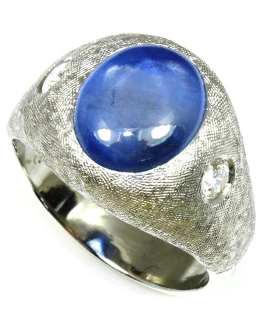 8.73ct Natural Star Sapphire and Diamond Ring