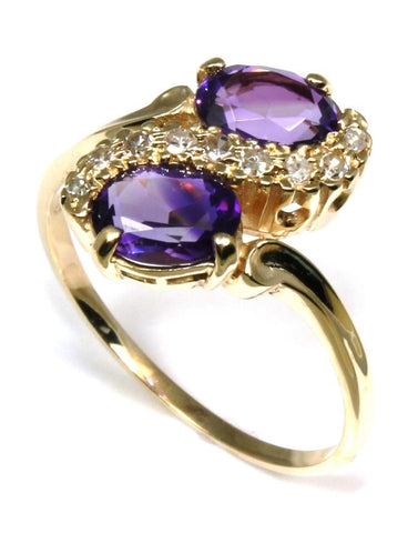 Double Amethyst and Diamond Ring