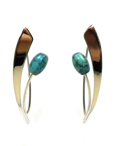 Tulip Turquoise Earrings by Ed Levin