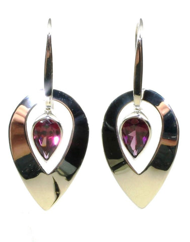 Flame Rhodolite Garnet Earrings by Ed Levin