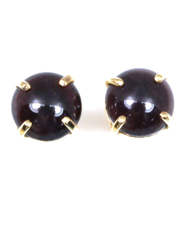 8mm Cabochon Star Garnet Stud Earrings