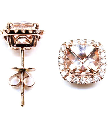 Morganite and Diamond Halo Earrings by Allison Kaufman