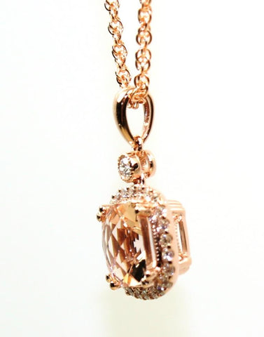 Morganite and Diamond Necklace by Allison Kaufman