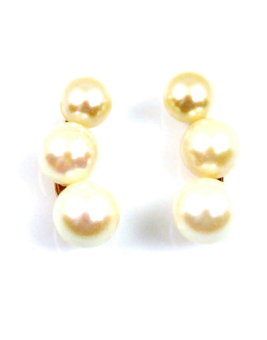 Akoya Three Pearl Drop Earrings