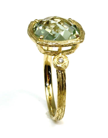Cushion Cut Green Amethyst Ring