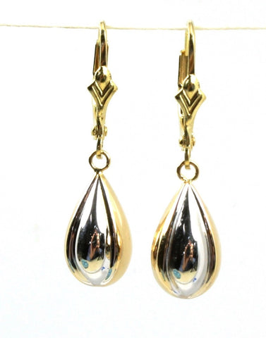 Tear Drop Two Tone Dangle Earring