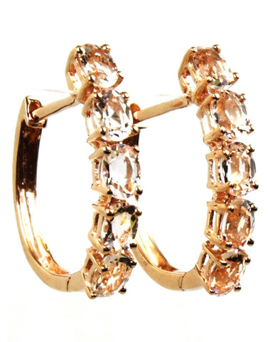 Morganite Hinged Hoop Earrings