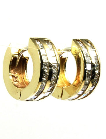 1.50ctw Diamond Princess Cut Huggie Hoops
