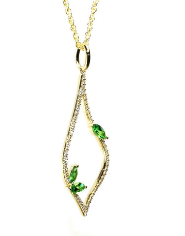 Teardrop Green Garnet Necklace by Allison Kaufman