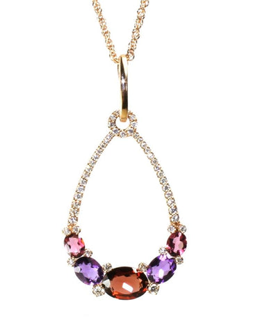Garnet, Amethyst, and Pink Tourmaline Drop Necklace by Allison Kaufman