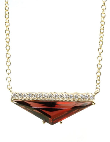 Garnet Geometric Necklace by Allison Kaufman
