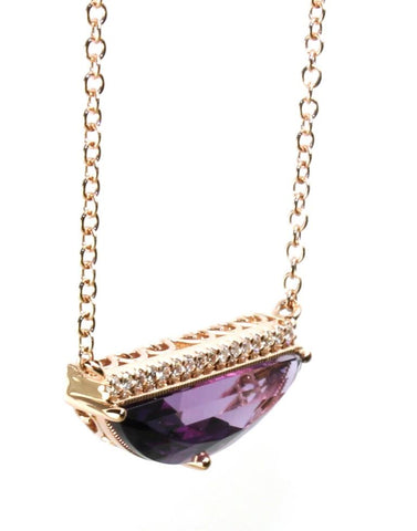 Amethyst Geometric Necklace by Allison Kaufman