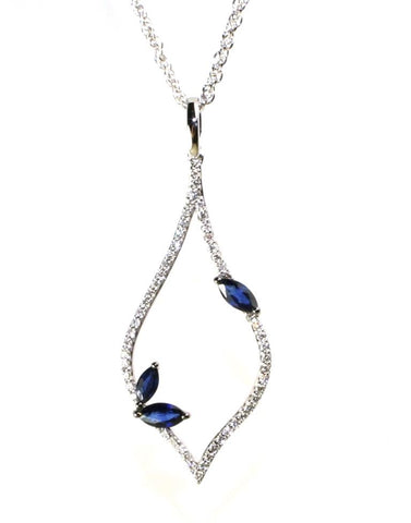 Teardrop Blue Sapphire Necklace by Allison Kaufman