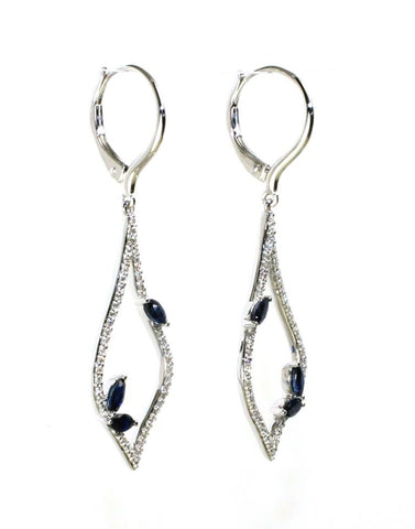 Sapphire and Diamond Teardrop Earrings by Allison Kaufman