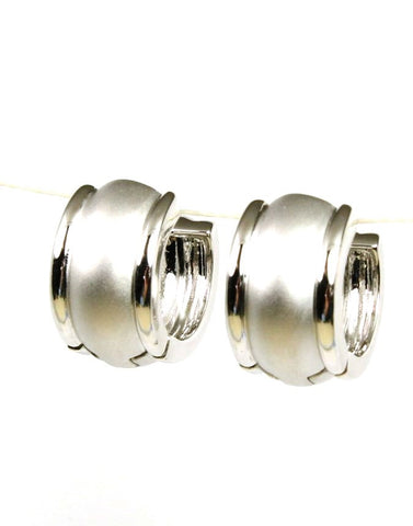 Barrel Shape Satin Huggie Hoops