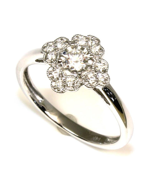 Diamond Clover Shape Ring by Allison Kaufman