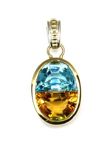 Blue Topaz and Citrine Pendant
