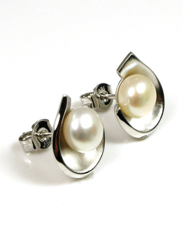 Button Love Pearl Earrings by Bastian Inverun