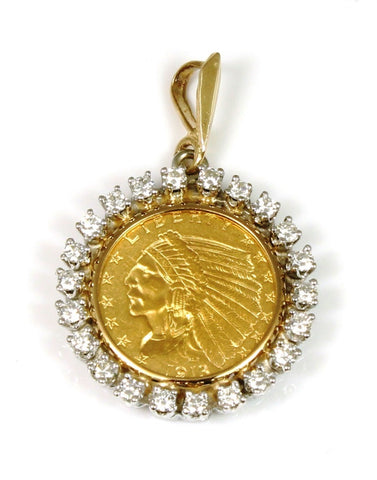 $2.50 1913 Coin with a Diamond Bezel Pendant