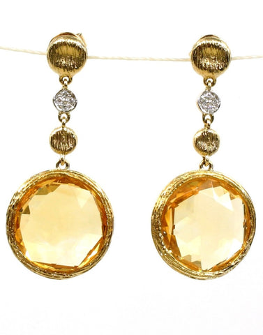 Citrine Rock Candy and Diamond Earrings by Allison Kaufman