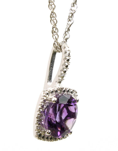 Amethyst and Diamond Halo Necklace