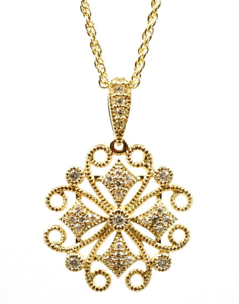 Lacy Diamond Medallion Necklace by Allison Kaufman