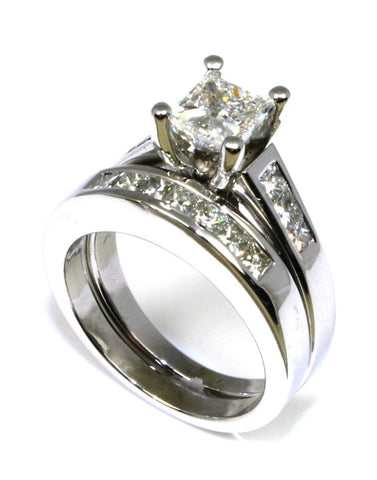 1.70ctw Princess Cut Diamond Bridal Set