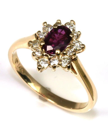 Rhodalite Garnet and Diamond Halo Ring