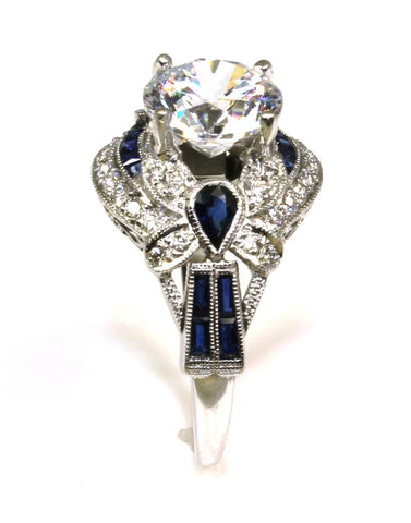 .70ctw Diamond and Sapphire Ring Setting with CZ Center