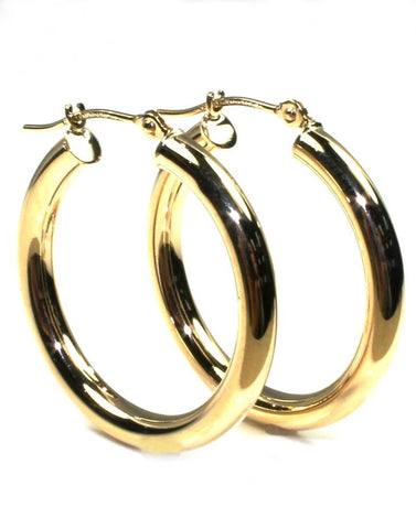 25mm Round Gold Hoop Earrings