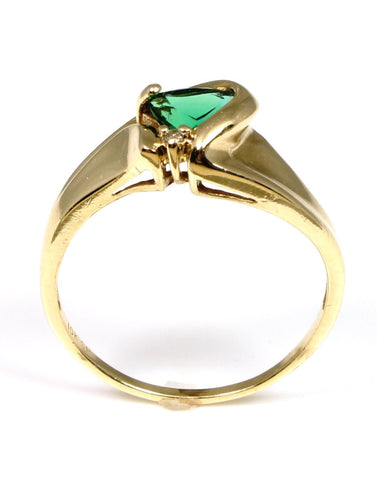 Trillion Shape Created Emerald Ring