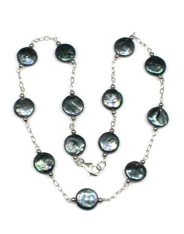 12-13mm Black Coin Pearl Necklace