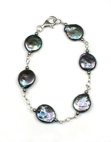 12-13mm Black Coin Pearl Bracelet