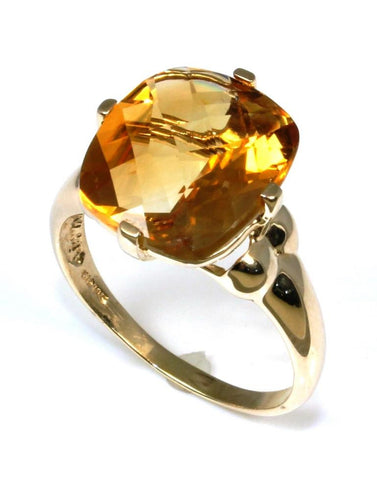 Cushion Cut Citrine Ring