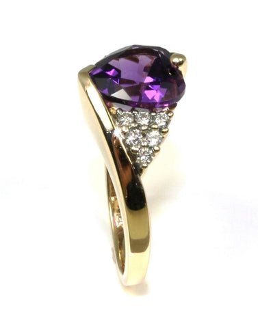Heart Shape Amethyst and Diamond Ring