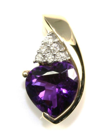 Heart Amethyst and Diamond Pendant