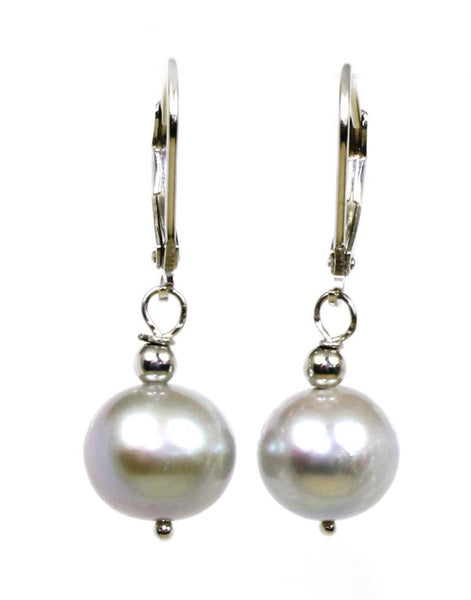 10-11mm Grey Pearl Dangle Earrings
