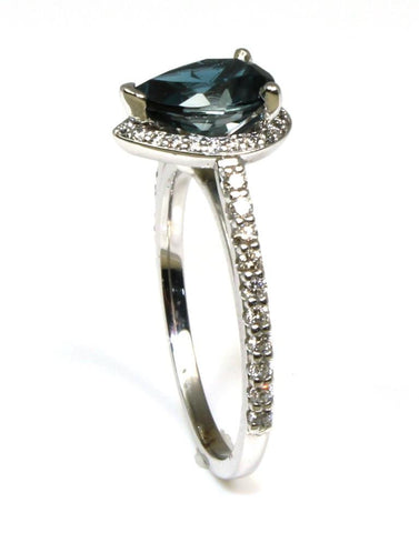 London Blue Topaz with a Diamond Halo Ring by Ever & Ever