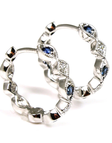 Sapphire and Diamond Huggie Milgrained Hoops by Allison Kaufman