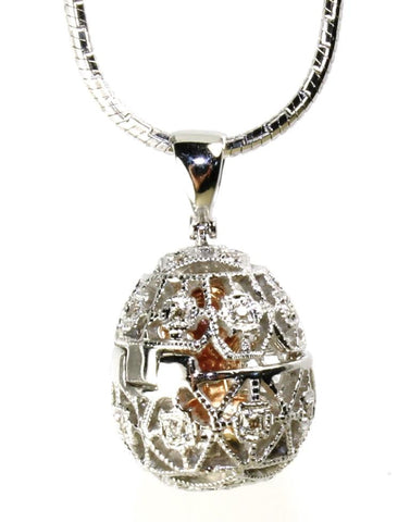 Diamond Egg Necklace with Dance in Center