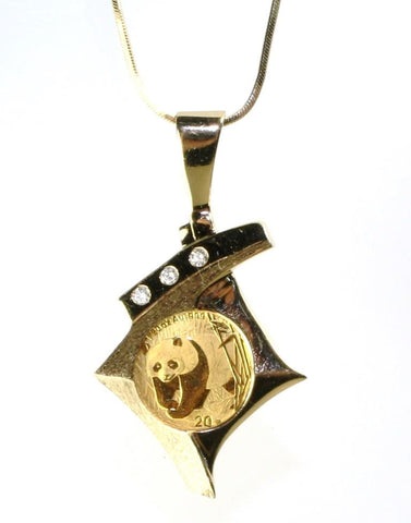 Panda Coin with Diamond Bezel on a Snake Chain