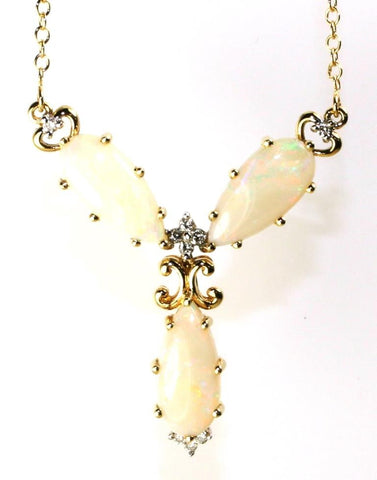 Marquise Opal and Diamond Fancy Necklace