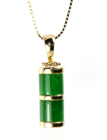 Dark Green Jade Cylinder Necklace