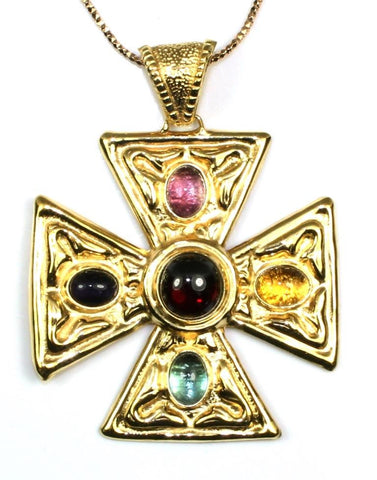 Maltese Gemstone Cross Necklace