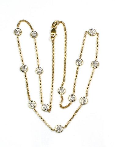Cluster .39ctw Diamond Station Necklace