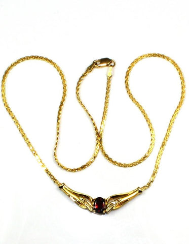 Oval Garnet Necklace
