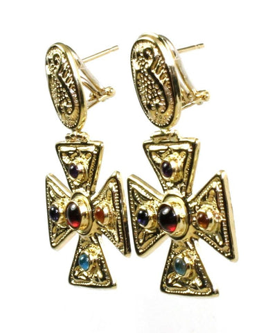 Maltese Gem Cross Earrings