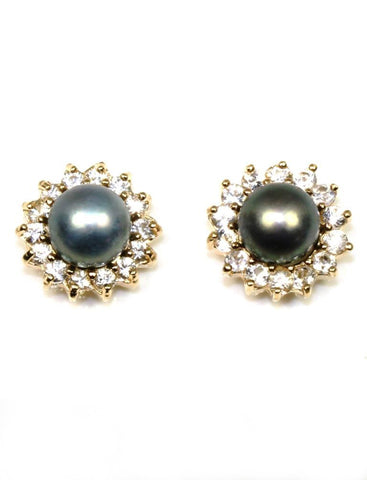 Pearl with a White Sapphire Halo Earrings
